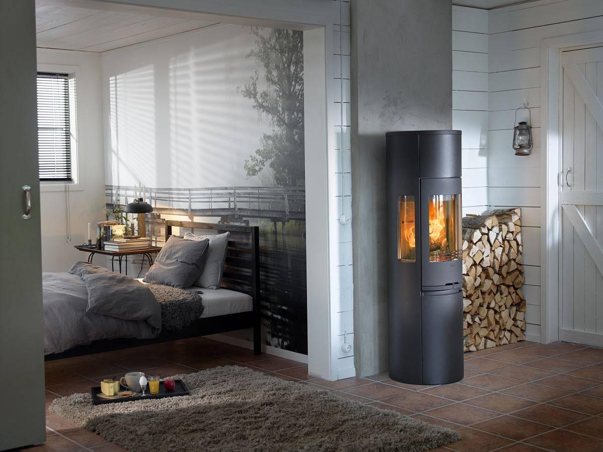 po le bois rond en acier laqu avec vitres lat rales. Black Bedroom Furniture Sets. Home Design Ideas